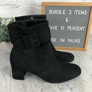 Ara Women's Black Suede Block Heel Ankle Booty